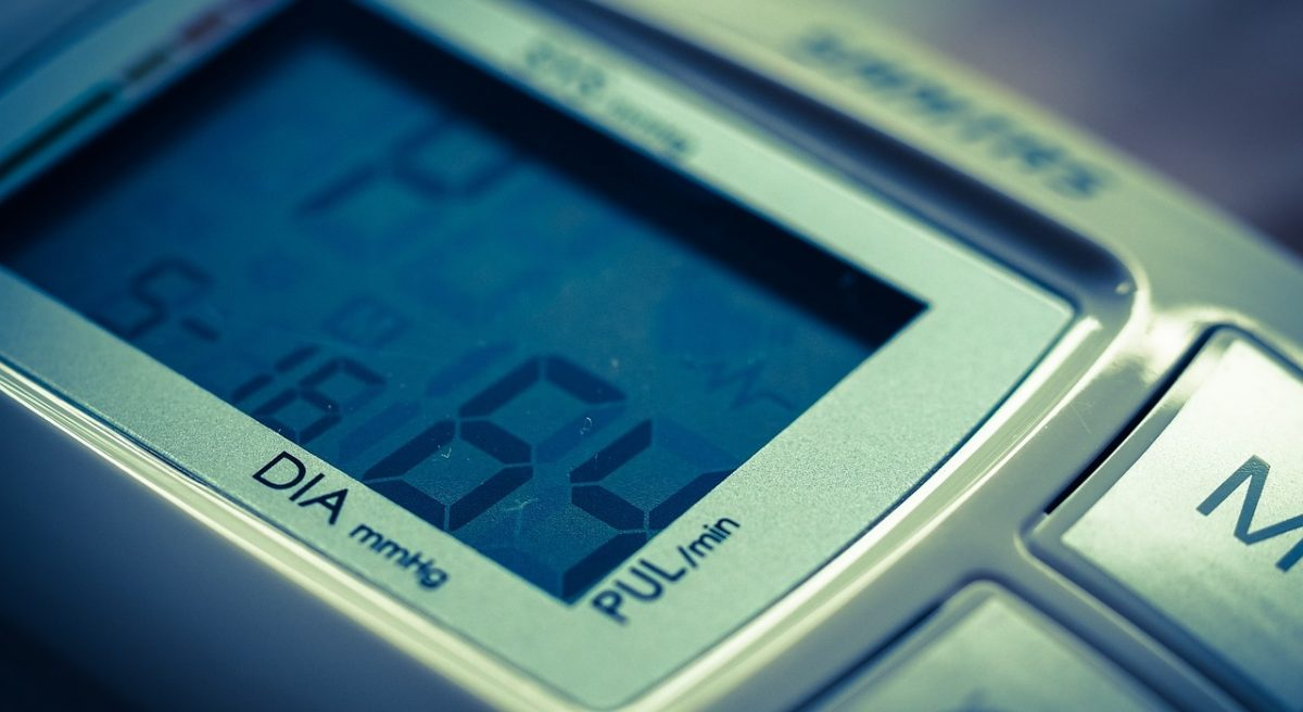 Closeup of a blood pressure device display